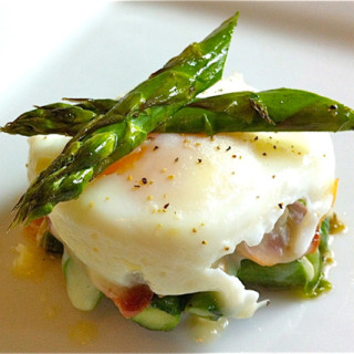 Poached Egg, Asparagus, & Prosciutto Stacks