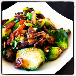 Brussels Sprouts w/Bacon, Medjool Dates, & Sweet Dijon Glaze