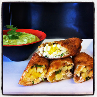Mango, Chicken, & Goat Cheese Egg Rolls w/Avocado Dip