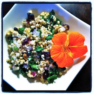 Quinoa Salad w/Dried Berries, Kale, & Goat Cheese