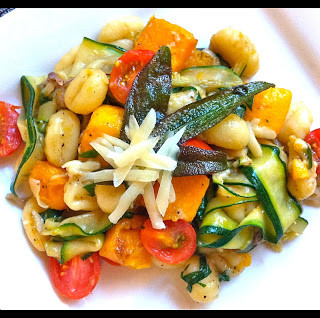 Gnocchi w/Sage Butter, Roasted Butternut Squash, Zucchini Ribbons, & Cherry Tomatoes
