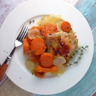 Maple Roasted Chicken & Sweet Potatoes