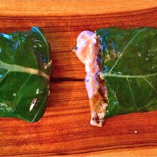 Salmon Fillets Wrapped in Collard Greens w/Shitake Mushrooms & Pureed Potato Sauce