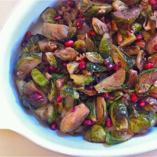 Brussels Sprouts w/Vanilla-Buttered Pecans & Pomegranate Drizzle