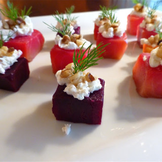 Roasted Beet Bites W/Goat Cheese, Walnuts, & Fresh Dill
