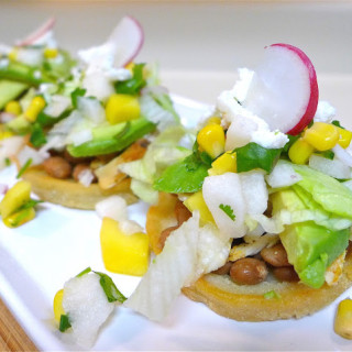 Chicken Sopes with/Corn, Jicama, & Mango Salsa