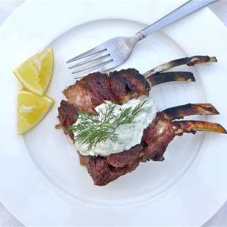 Slow-Roasted Rack of Lamb w/Tzatziki Sauce