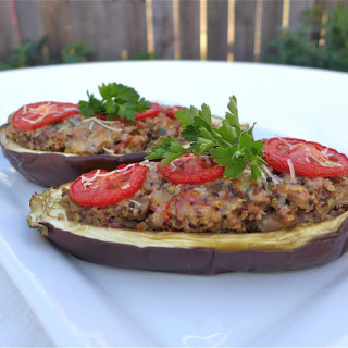 Eggplant Stuffed With Turkey & Quinoa {Gluten-free}