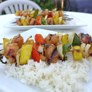 Grilled Chicken & Pineapple Skewers w/Homemade Ginger-Teriyaki Sauce {Gluten-free}