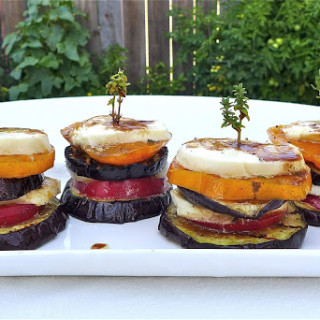 Grilled Eggplant Stacks w/Marinated Heirloom Tomatoes & Fresh Mozzarella