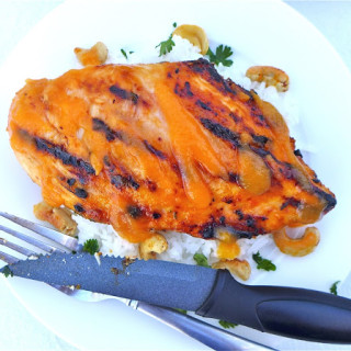 Papaya-Marinated Grilled Chicken w/Fresh Papaya BBQ Sauce & Spiced Cashews {Gluten-free}