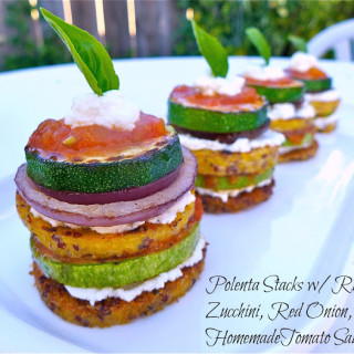 Polenta Stacks w/Ricotta, Zucchini, Red Onion, & Homemade Tomato Sauce