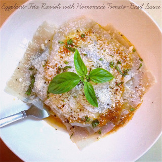 "Roasted Eggplant~Feta Ravioli w/Homemade Tomato~Basil Sauce… The ""Cheaters"" Version {shhh, no one will ever know!}"