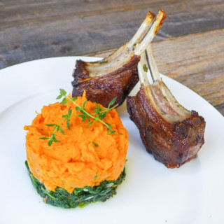 Herb-Marinated Lamb Rib Chops w/Sautéed Spinach, Sweet Potato Mash, & Rosemary-Pinot Drizzle