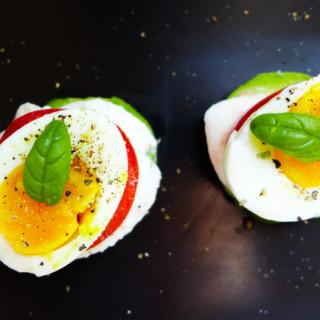 Breakfast Caprese Stacks {Tomato, Basil, Buffalo Mozzarella, Avocado, & Egg}