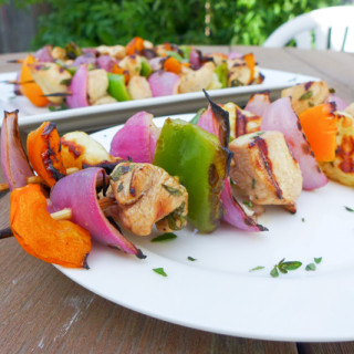 Grilled Halloumi & Chicken Kebobs {Guest Post for Food Renegade!}