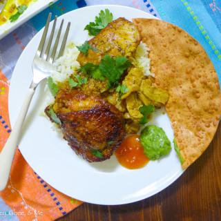 Slow-Cooked Mango-Curry Chicken {w/Homemade Avocado-Cilantro Chutney}