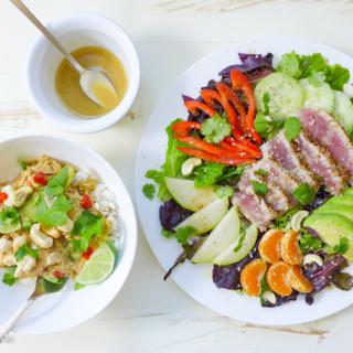 Sesame~Seared Ahi Tuna Salad w/Mandarin~Wasabi Vinaigrette