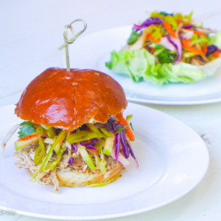 Cider Pulled Chicken & Apple-Jicama Slaw {Sliders and Lettuce Wraps}