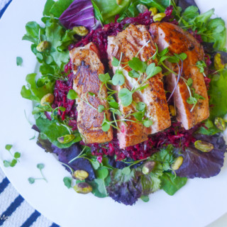 salmon salad with beet slaw