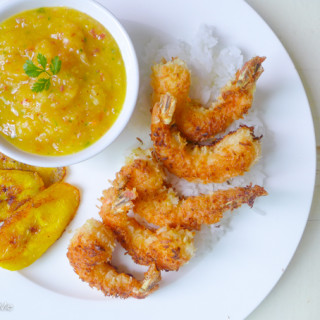 Coconut Shrimp & Mango-Peach Chile Sauce