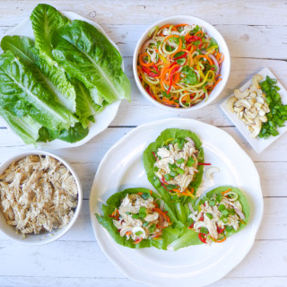 Slow Cooked Almond Chicken & Veggie Slaw Lettuce Wraps {Whole30}