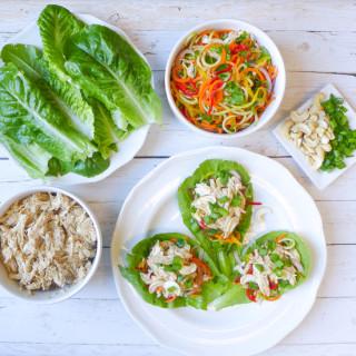 Slow Cooked Almond Chicken & Veggie Slaw Lettuce Wraps {Whole30}