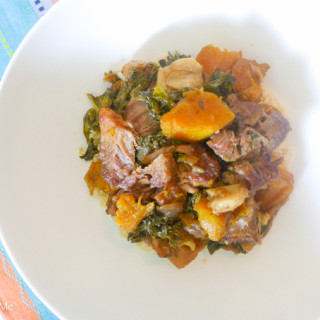 Slow-Cooked Pork w/Butternut Squash, Garlic, & Kale {Whole30 Optional}
