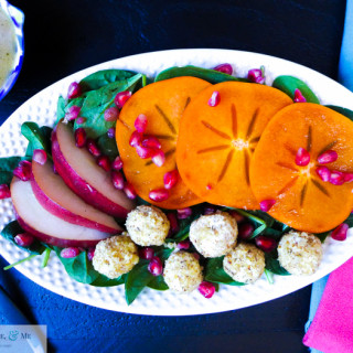 autumn salad pear persimmon pomegranite goat cheese-49