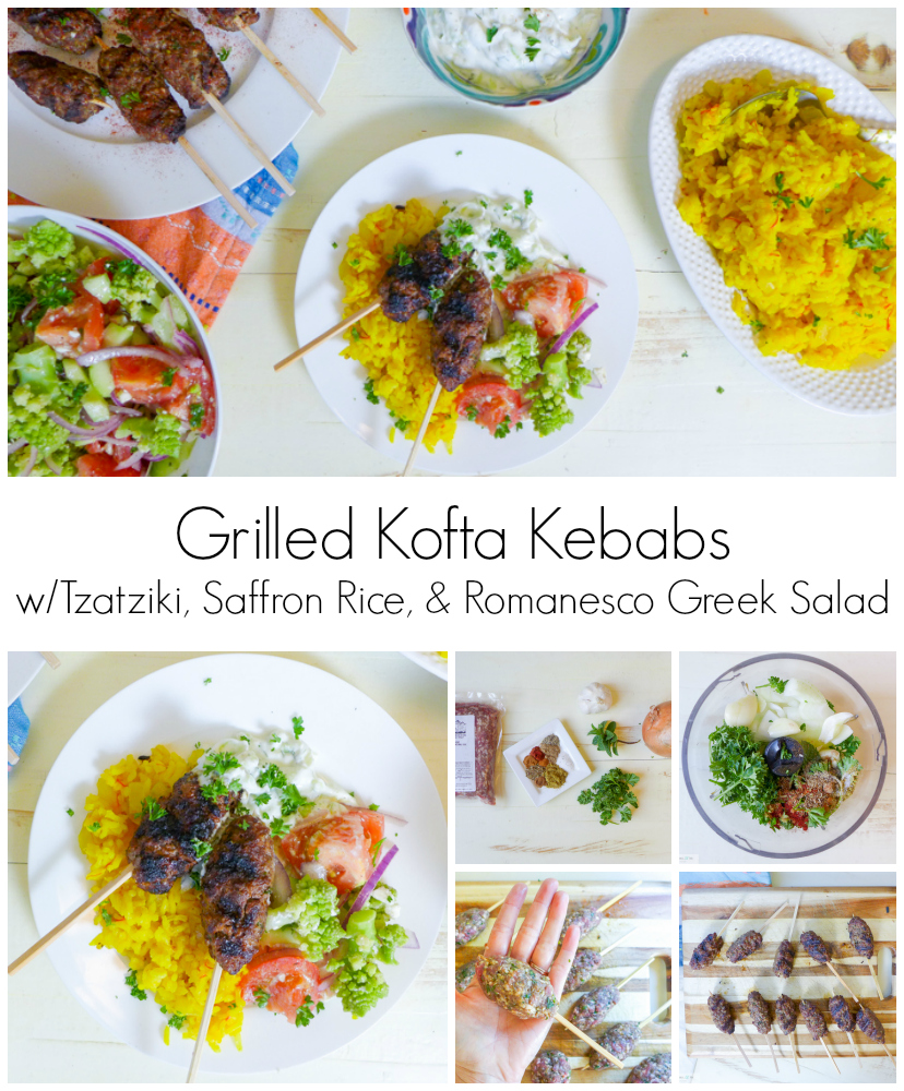 Grilled Kofta Kebabs wTzatziki & Saffron Rice