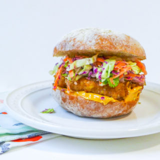 Crispy Chicken Sandwich w/Pickle & Radish Slaw {GF}