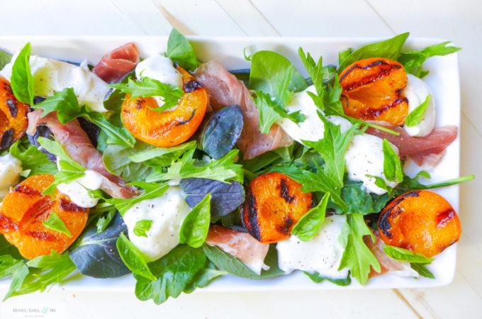 Grilled Apricot, Prosciutto, & Burrata Salad