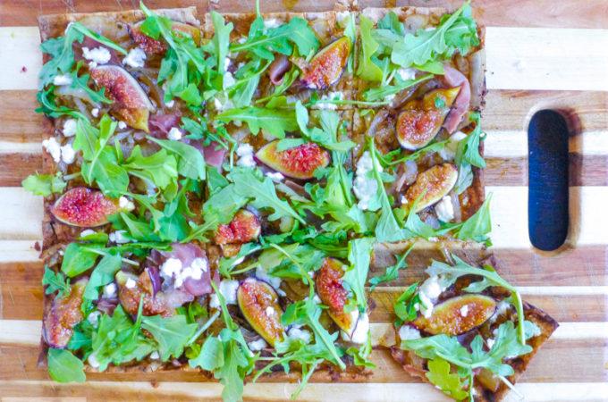 Grilled Fig, Prosciutto, Goat Cheese, & Arugula Flatbread {BYOC}