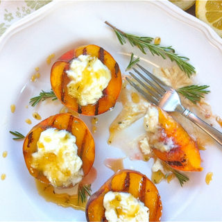 Grilled Peaches w/Lemon-Mascarpone & Rosemary-Honey Drizzle