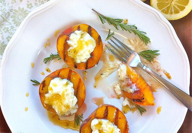 Grilled Peaches w/Lemon-Mascarpone & Rosemary-Honey Drizzle