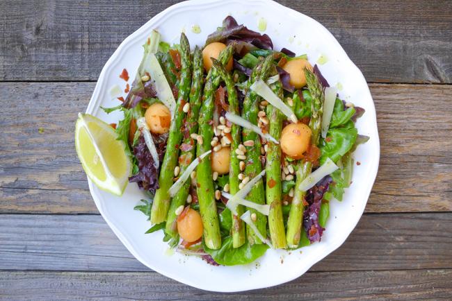 asparagus prosciutto melon salad