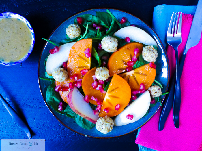autumn salad pear persimmon pomegranite goat cheese-54